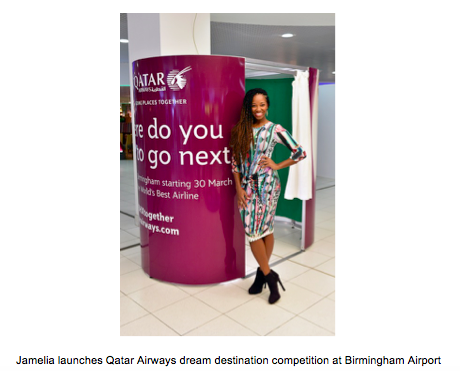 JAMELIA LAUNCHES QATAR AIRWAYS DREAM DESTINATION COMPETITION AT BIRMINGHAM AIRPORT